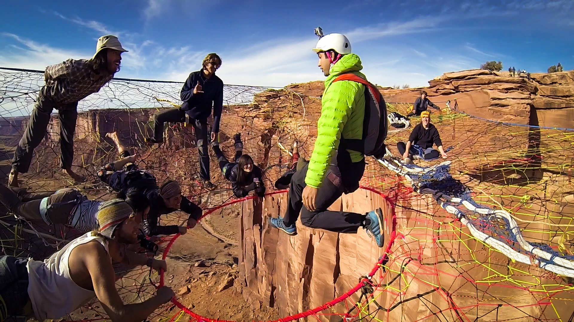 Gopro Video Of A Daredevil Base Jumping From A Hole Inside A