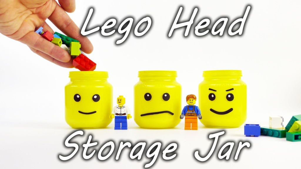 How to Make a Glow-in-the-Dark LEGO Head Storage Container Using Baby Food Jars, Paint, Tape, and a Tiny Flashlight