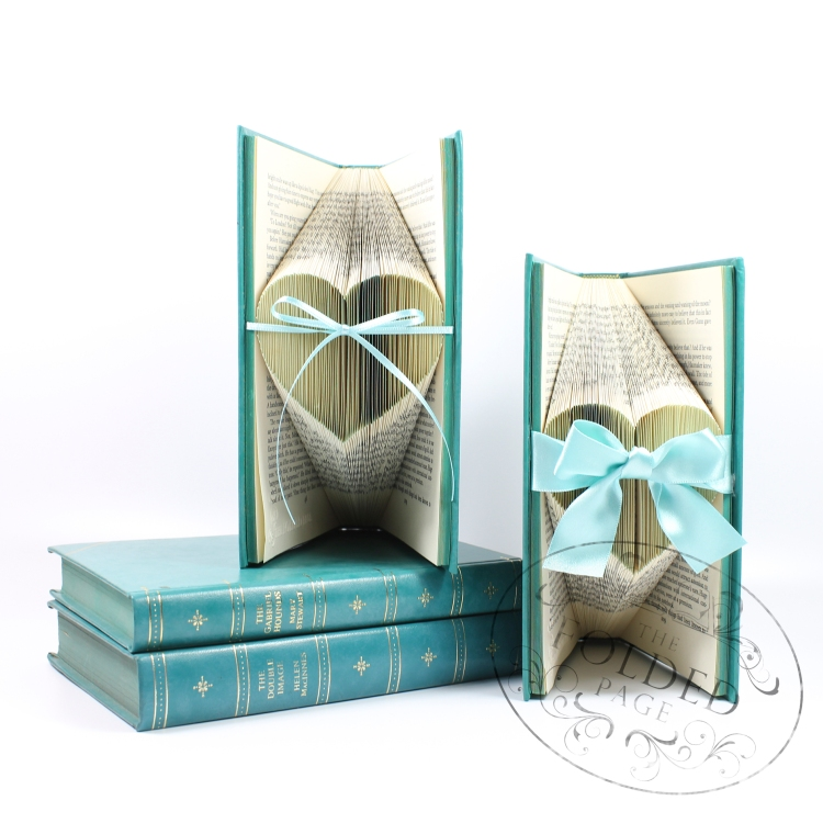 Small turquoise heart folded book