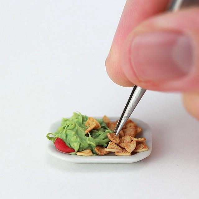 Miniature chips and guacamole