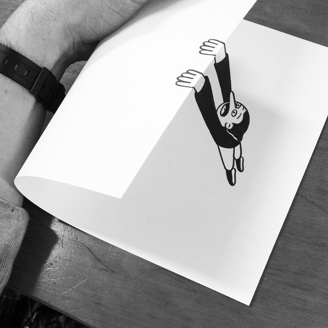 Clever black and white 3d illusion drawings by huskmitnavn