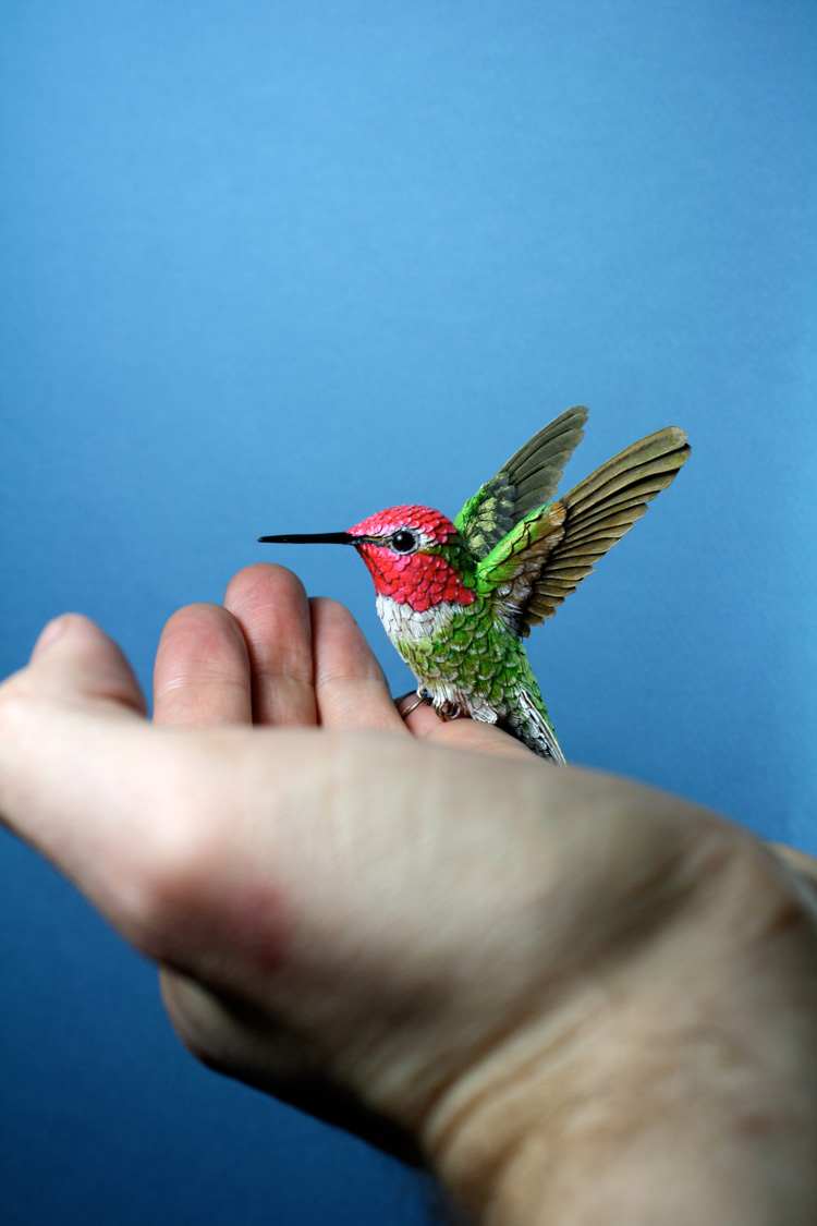 Captivating Artist Creates Beautifully Lifelike Hand Painted Bird Sculptures Out Of  Paper And Resin