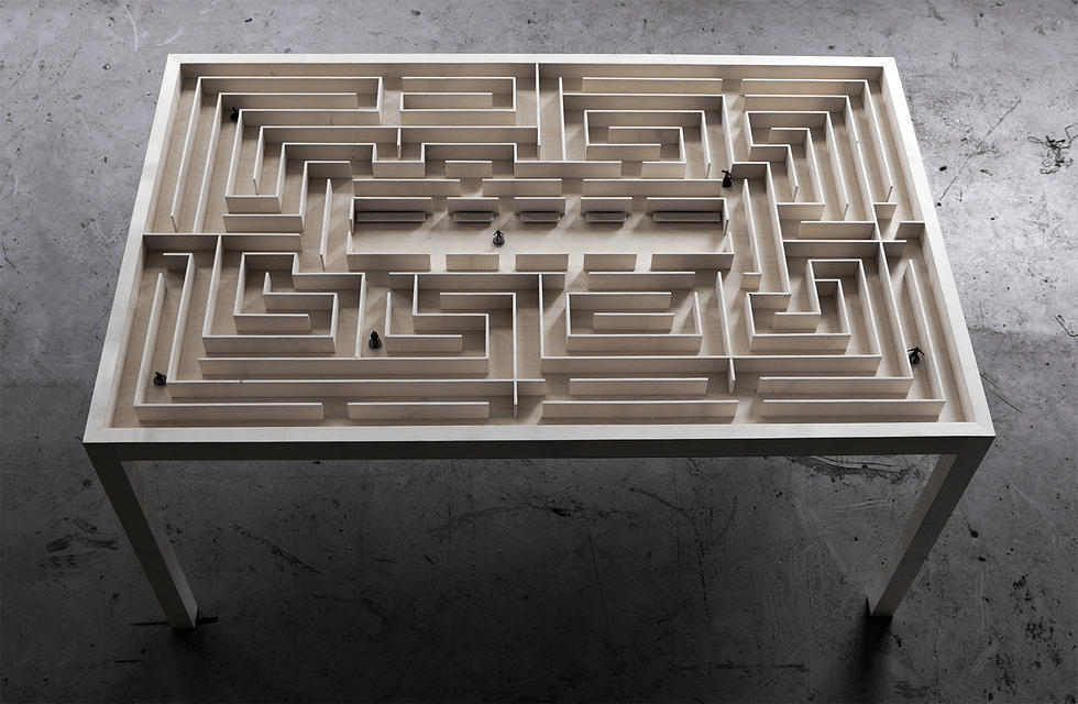 An Elegant Wooden Coffee Table With An Elaborate Labyrinth Under A Glass Table  Top