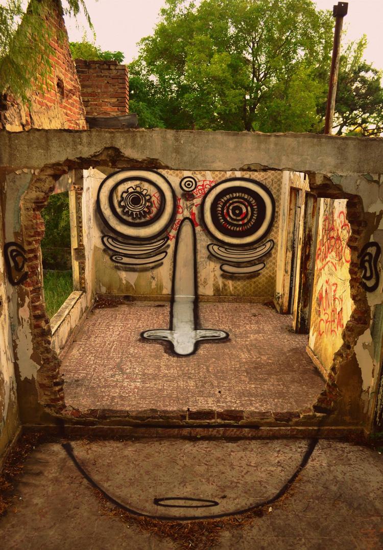 Playful Character Street Art by Guri