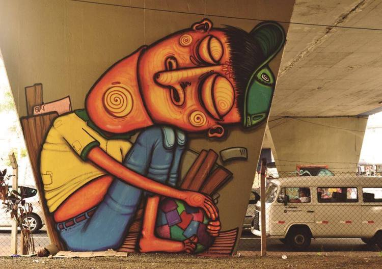 Playful Character Street Art by Guri