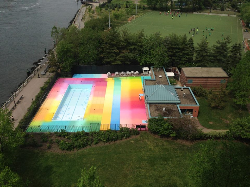 Artist Paints The Deck Of A Roosevelt Island Pool In A Beautiful Array Of Colors Reminiscent Of
