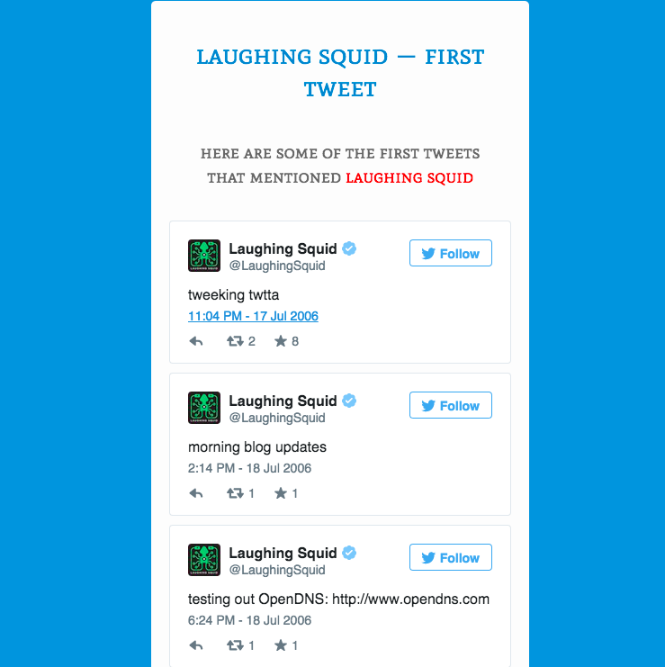 Earliest Laughing Squid Tweet