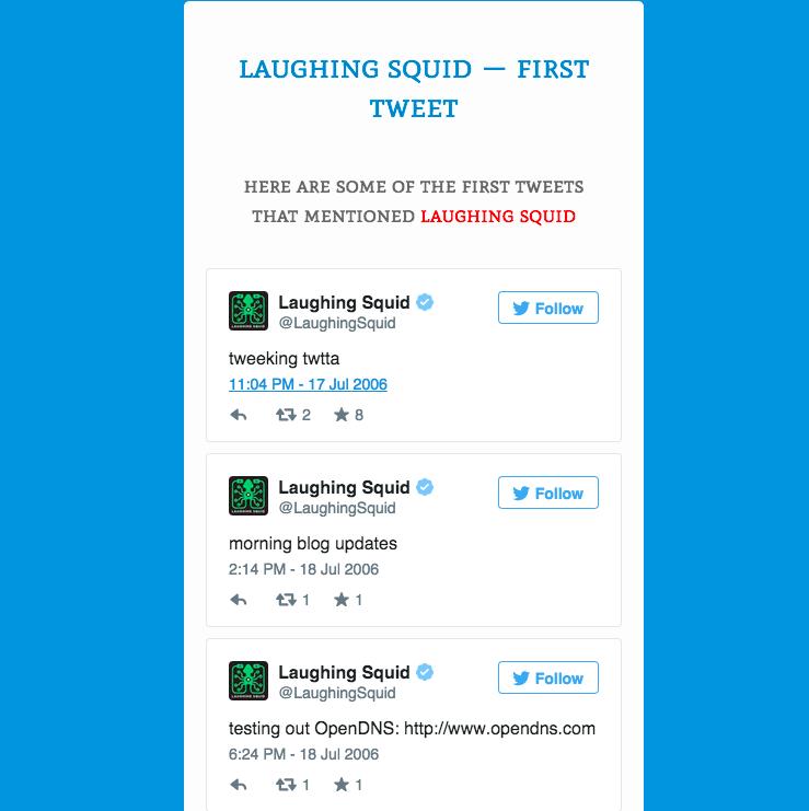 Earliest Laughing Squid Tweet