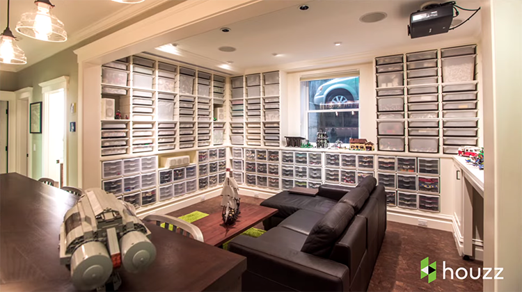 Architect Turns Basement Into An Amazing Lounge With Organized Storage For  His 250,000 LEGO Bricks U0026 Accessories
