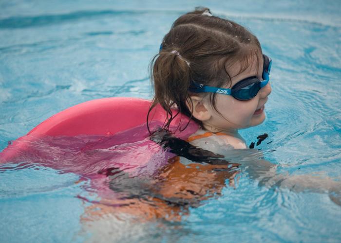 swimfin girl in pool