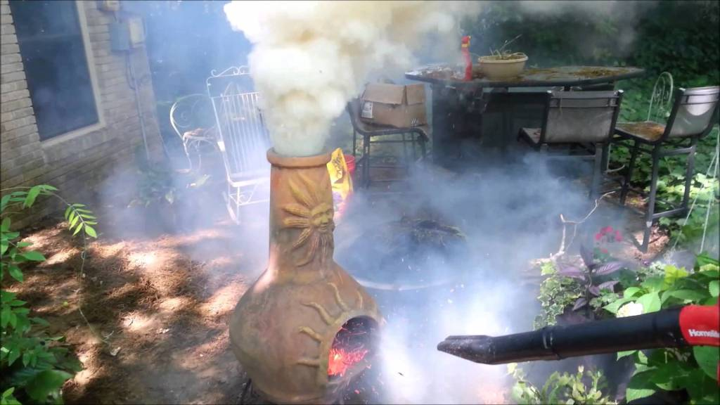 A Leaf Blower Turns an Outdoor Fireplace Into a Fire-Belching Smoke Machine