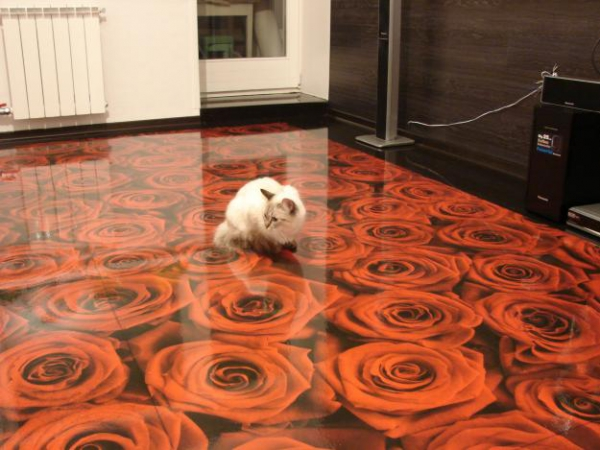 Photorealistic 3d illusion flooring by imperial interiors for Liquid lino floor paint