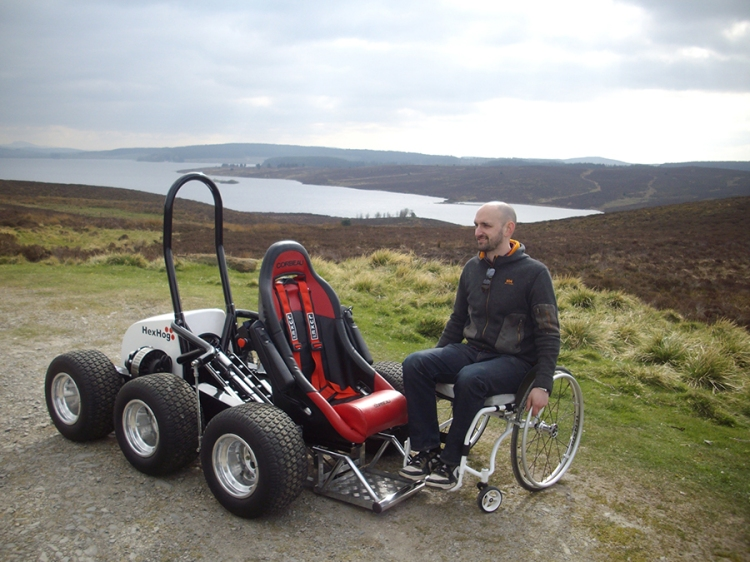 The hexhog a six wheeled all terrain wheelchair to give for All terrain motorized wheelchairs