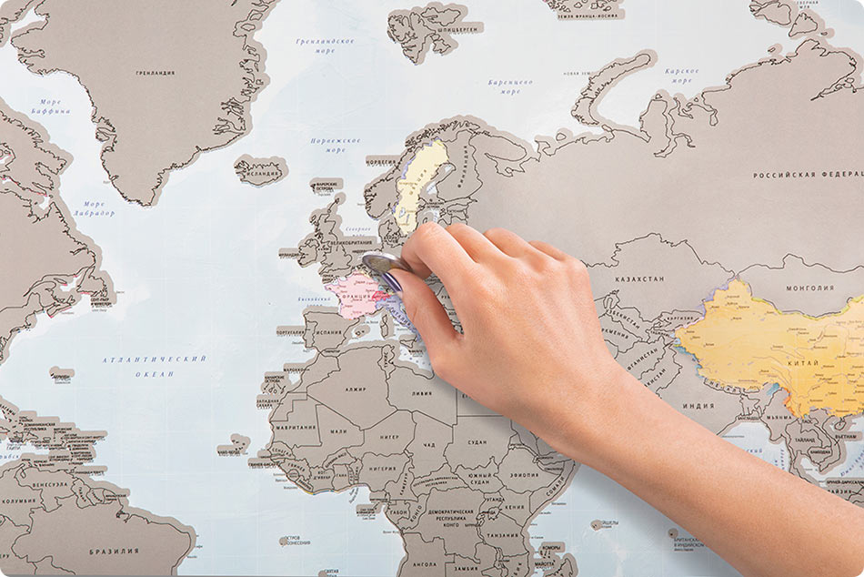 A Scratch-Off World Map That Lets Travelers Keep Track of Which Countries They Have Visited