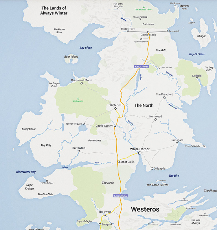 photograph about Free Printable Map of Westeros referred to as A Google Maps Variation of the Continent of Westeros Versus