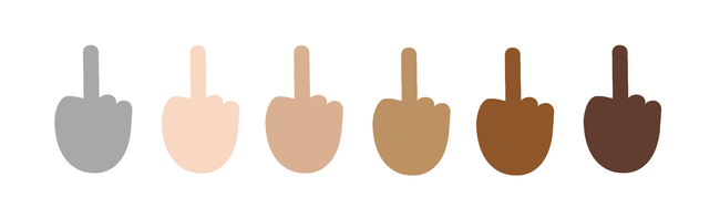 multicolored middle fingers