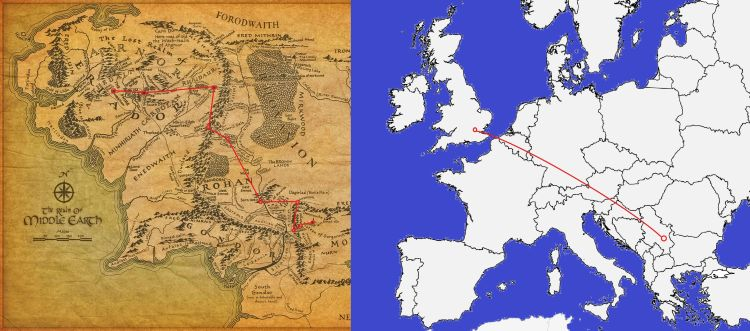 Europe LotR walking comparison