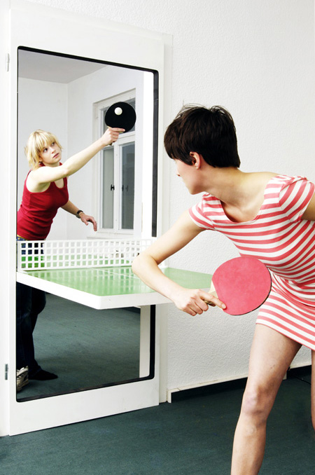 Ping Pong Door, A Custom Door That Pivots Down Into a Ping Pong Table