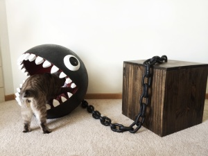 Chain chomp cat bed with cat butt