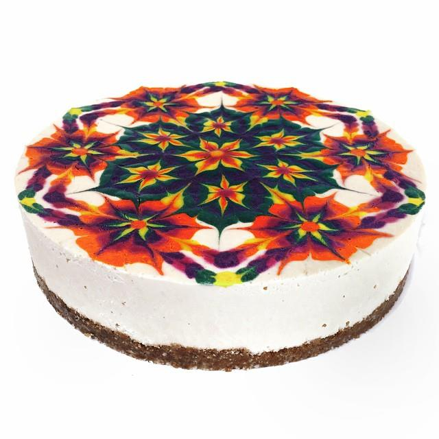 Raw vegan mandala cheesecake top