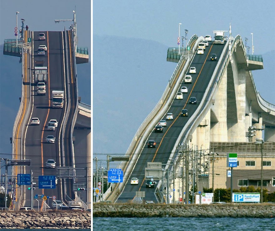 Eshima Ohashi Bridge, A Tall Bridge in Western Japan That Resembles a Roller Coaster for Cars