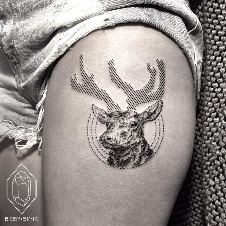 stag tattoo by Bicem Sinik