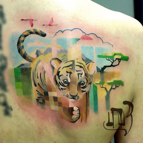 Strikingly Colorful Pixel and Glitch Tattoos by Alexey