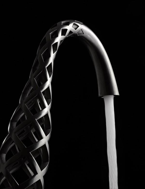 Luxury 3d-Printed twisty faucet up close