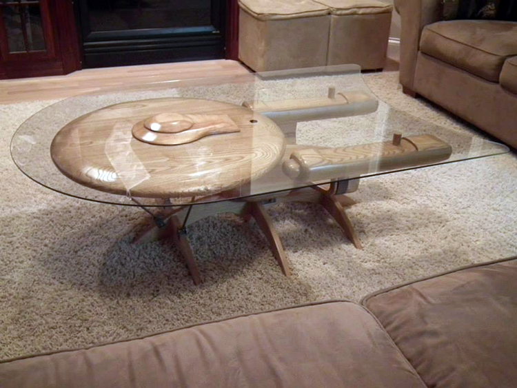 USS Enterprise Table - Custom 'Star Wars' X-Wing Starfighter And 'Star Trek' U.S.S.
