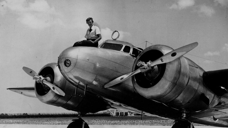 Amelia Earhart on plane