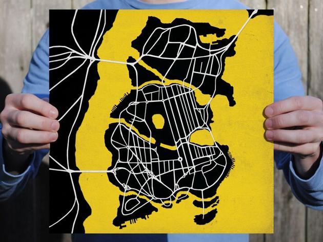 Batman Gotham City Map Print