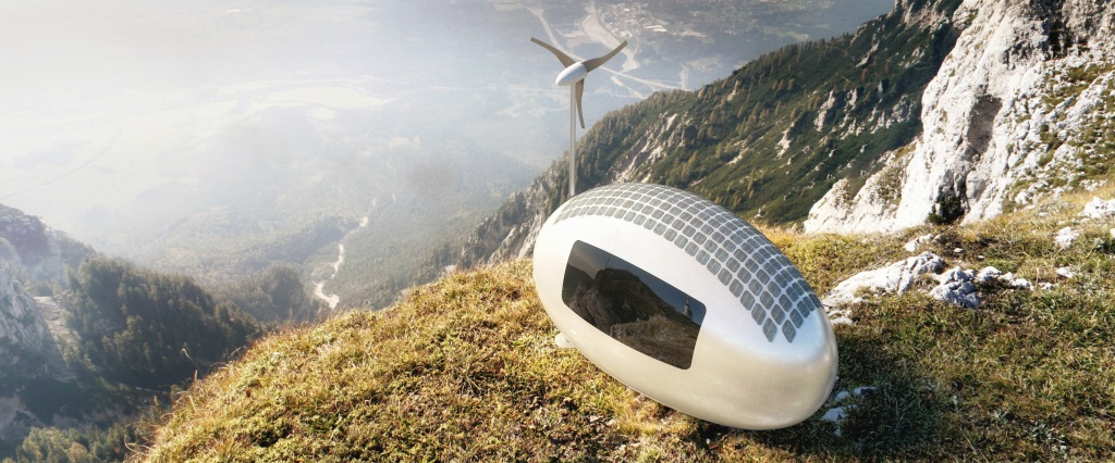 The Ecocapsule, An Amenity-Filled Tiny House Powered by a Built-In Wind Turbine and Solar Cells