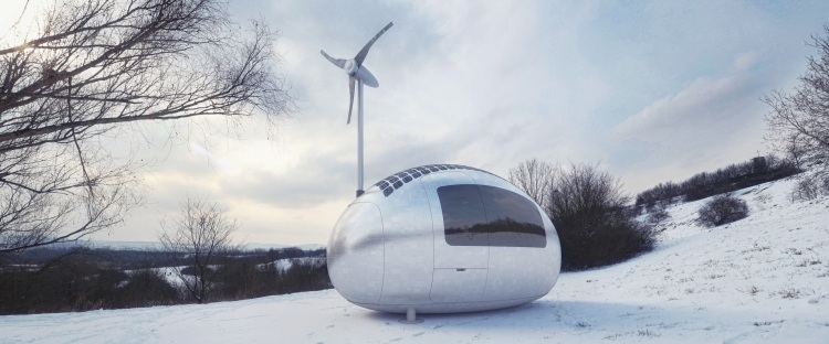 Ecocapsule in snow
