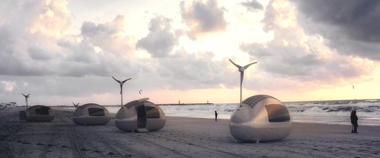 Ecocapsule on beach