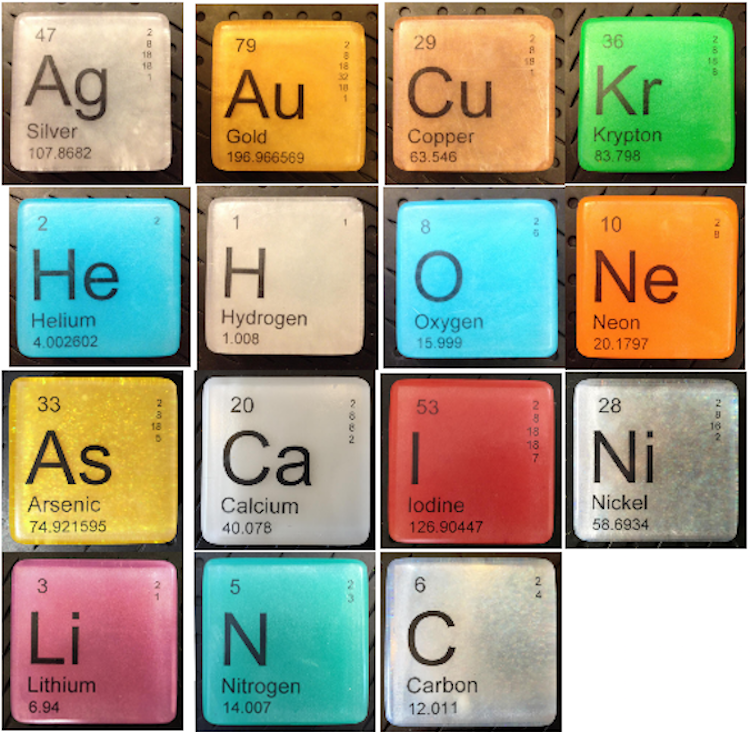 hypoallergenic vegan soaps shaped like chemical elements from the periodic table - Periodic Table Of Elements Gifts