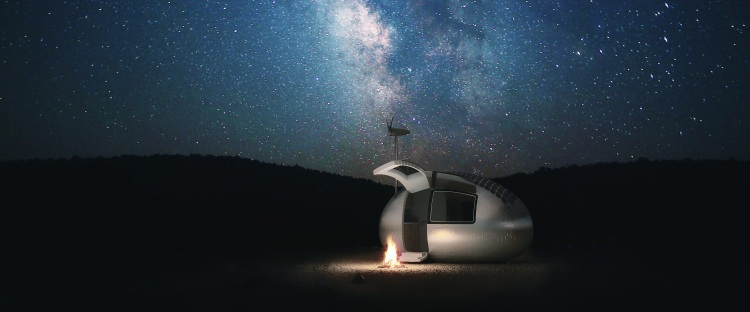 Ecocapsule at night