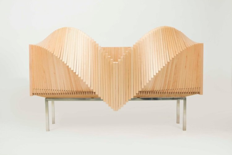 The Wave, A Beautifully Fluid Cabinet That Opens With a Series of 100 Hinged Slices