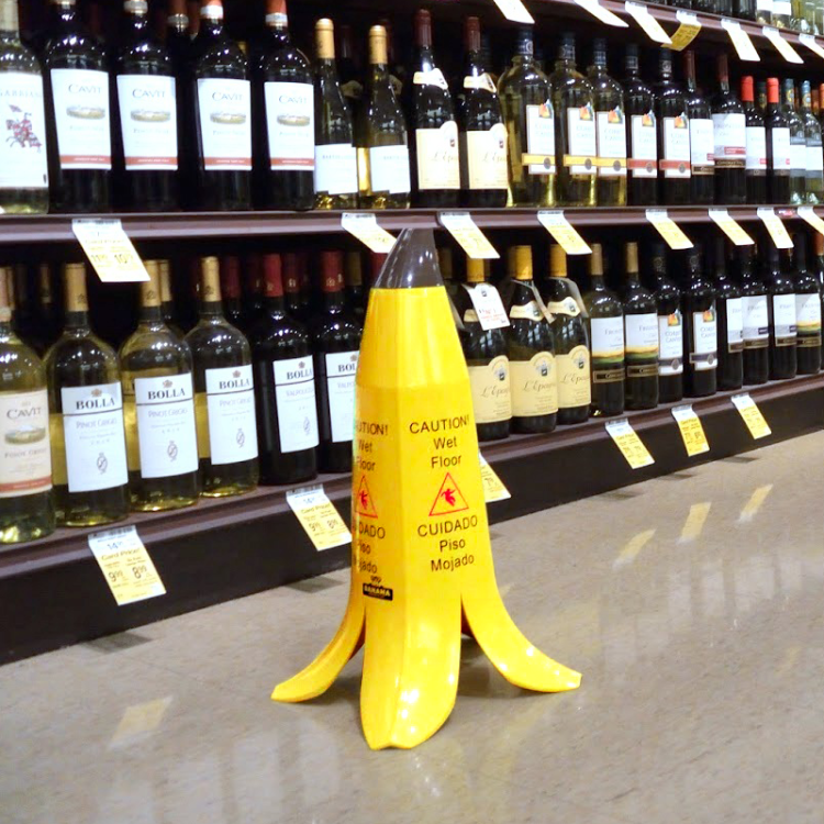 banana peel wet floor sign 1