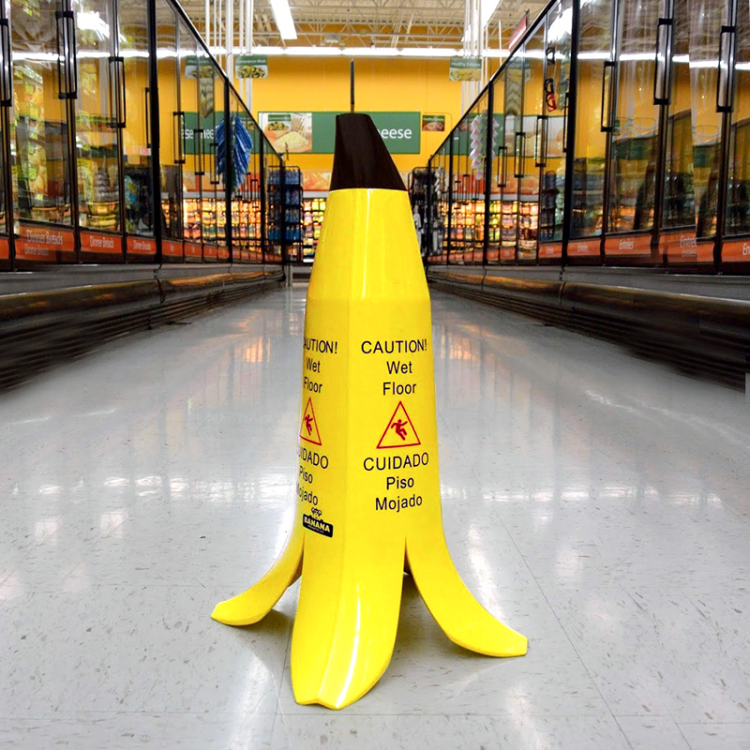 banana peel wet floor sign 3