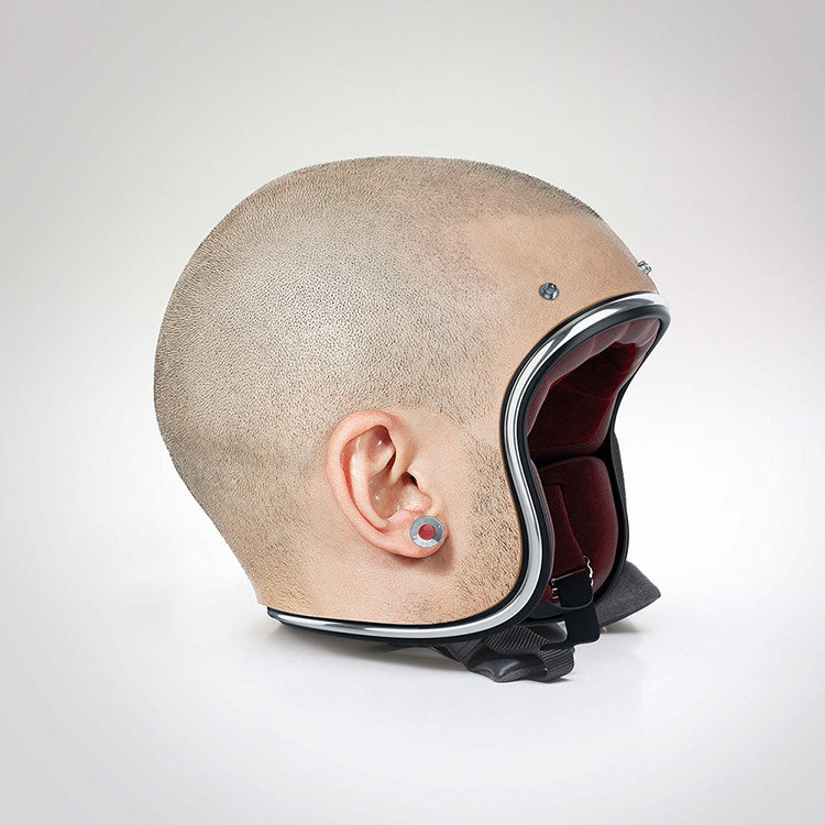 Helmets Designed to Look Like Shaved Human Heads
