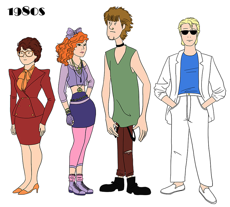 Illustrations of the 'Scooby-Doo' Gang Visualize How Fashions Drastically Changed Throughout the 20th Century