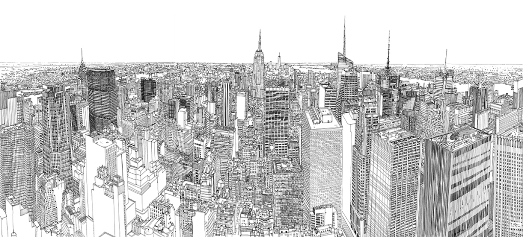 A Time-Lapse Film of an Artist Drawing a Detailed, Large-Scale Illustration of New York City