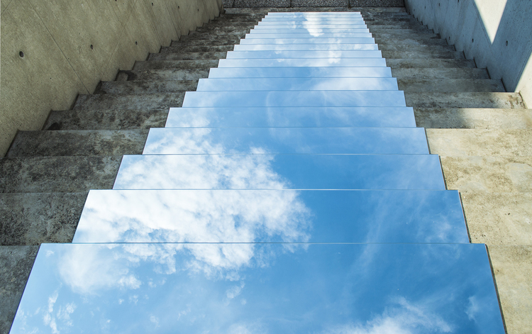 Heaven on Earth clouds reflected on stairs