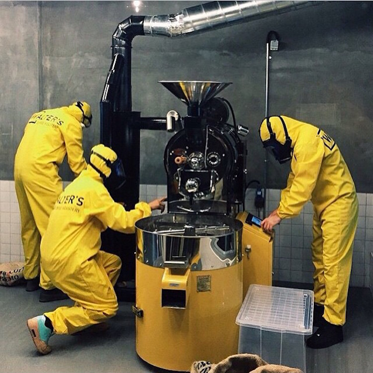 walters coffee roastery in istanbulturkey is a breaking bad themed cafe as evidenced by the yellow hazmat suits the clear blue glass candy made in - Glass Sheet Cafe 2015