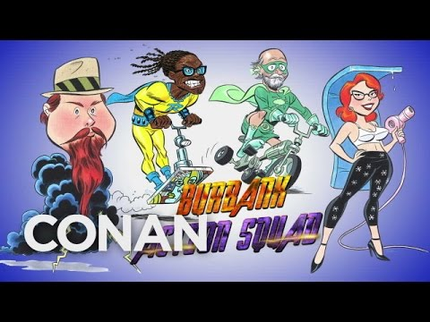 Conan O'Brien & Comic Book Animator Bruce Timm Turn Random People Into Quirky New Superheroes in Burbank, California