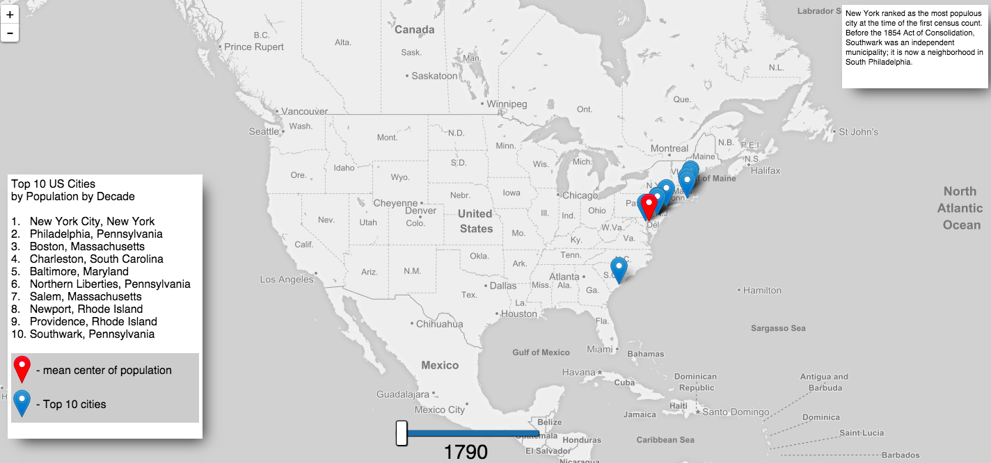 Shifting Cities An Interactive Map That Shows The Most Populous - The us map 1790