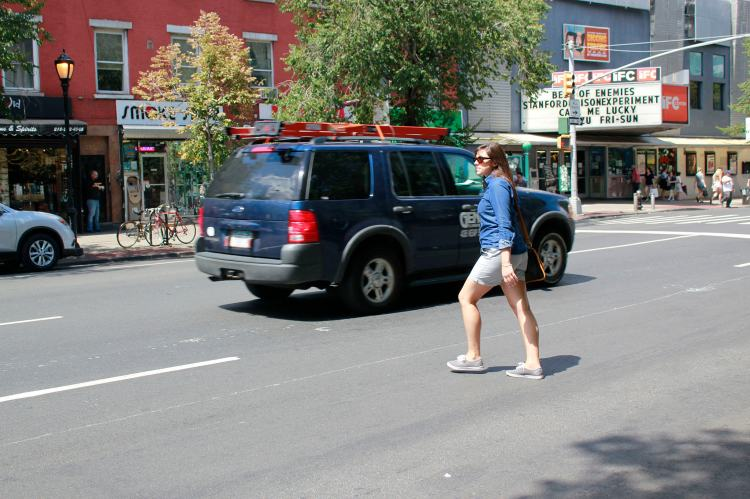 WNYC New Yorker Stock Photo - Woman Jaywalks With Impunity