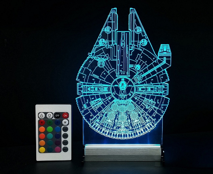 Millennium Falcon And At At Walker Led Lamps That Allow You To