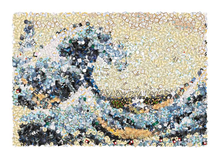 Great Wave off Kanagawa emoji mosaic