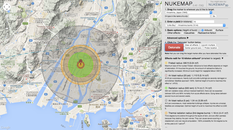 NUKEMAP, A Tool That Shows the Damage a Nuclear Detonation Would Do Anywhere in the World